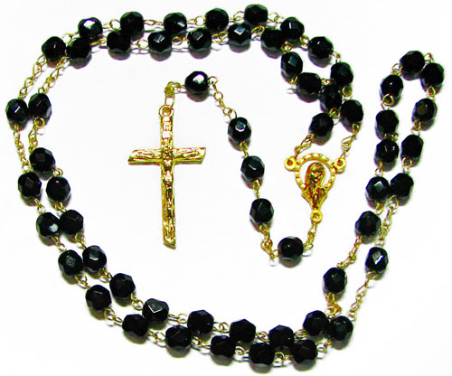 Fire Polished Jet Rosary - RB1