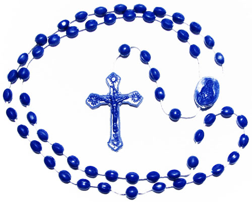Plastic Men's Rosary Necklaces - Blue