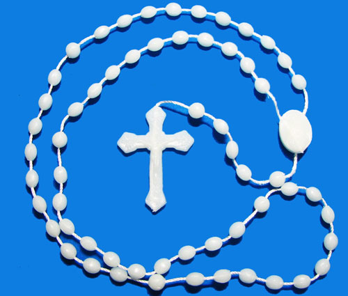 White Rosaries for Men that Glows in the Dark