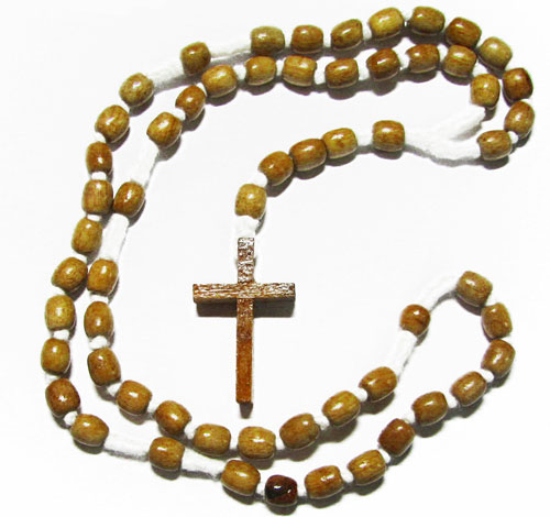 Wood Rosary for Men with Light Brown Beads