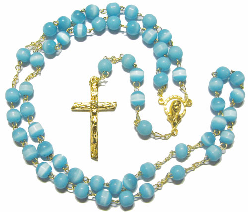 Cat's Eye Rosary, Aqua Blue with Silver Plate