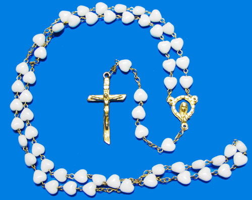 Rosary with White Heart Beads and Silver Plate