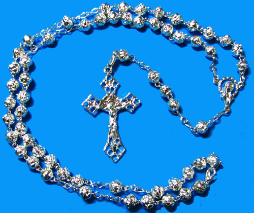 Silver Rosary with Rose Beads