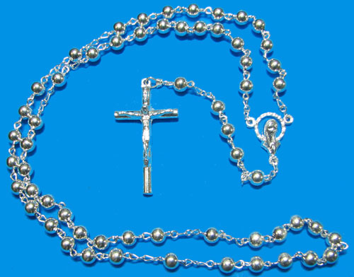 Silver Rosary with Round Silver Beads - RS3